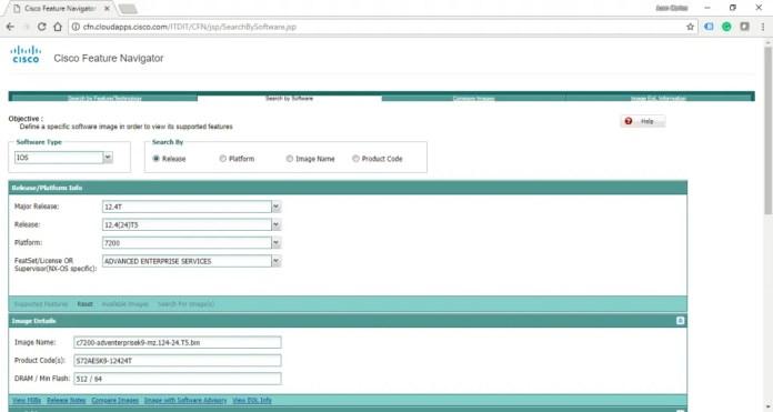 Cisco Feature Navigator, donde se puede encontrar las especificaciones de las imágenes