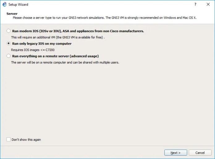 Selección del servidor para la simulación en GNS3