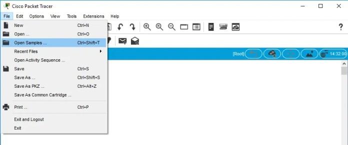 "Comando ""Open Samples"" para abrir ejemplos en Packet Tracer"