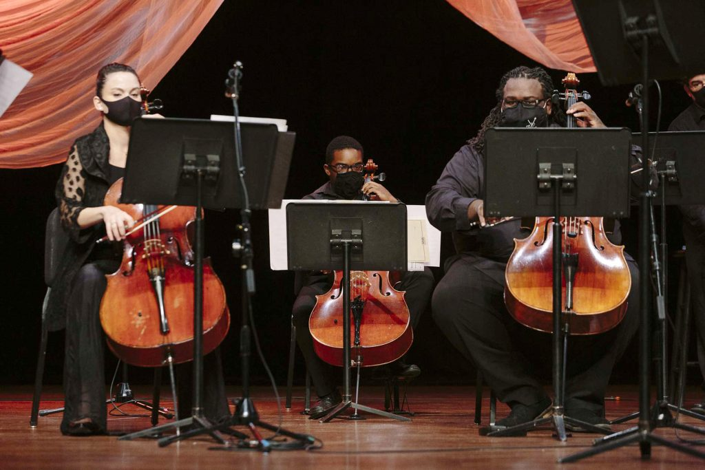 Kimberly Patterson, left, Carrington Truehart, middle, and Cremaine Booker play strings during live stream at Germantown Performing Arts Center on Saturday, Oct. 3, 2020.