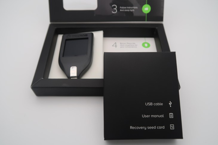 The box in which Trezor Model T Hardware Wallet arrives.