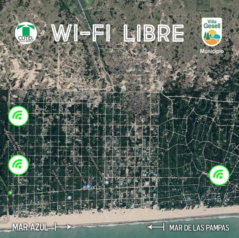 Los tres puntos de acceso al wifi que habrá en Mar de las Pampas.