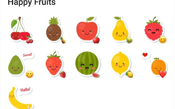 Happy Fruits sticker pack
