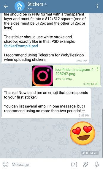 create telegram stickers for free