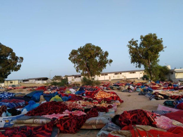 After the detention center was bombed, remaining structures appeared unstable and five days later, migrants were still sleeping outdoors. Pictured and transmitted to VOA July 7, 2019, in Tripoli, Libya.