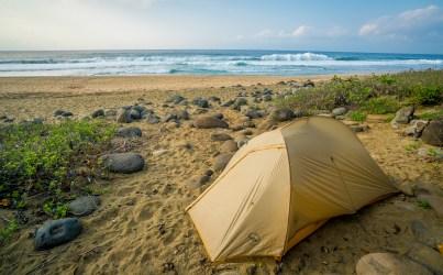 Campsite - Kalalau Beach Trail, Kauai