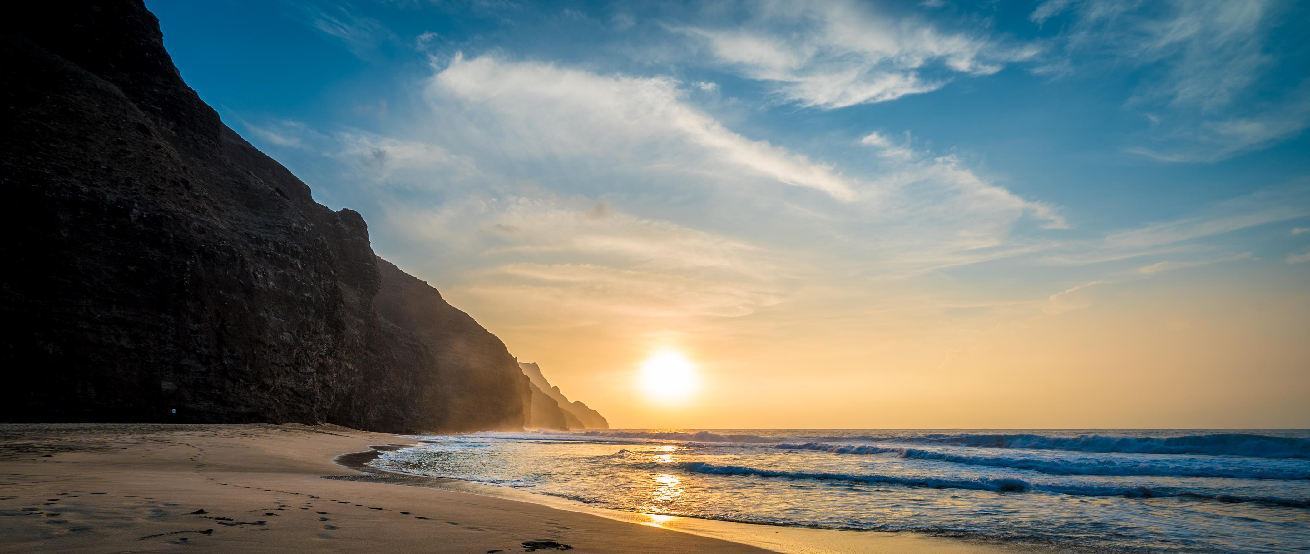 Sunset - Kalalau Beach Trail, Kauai