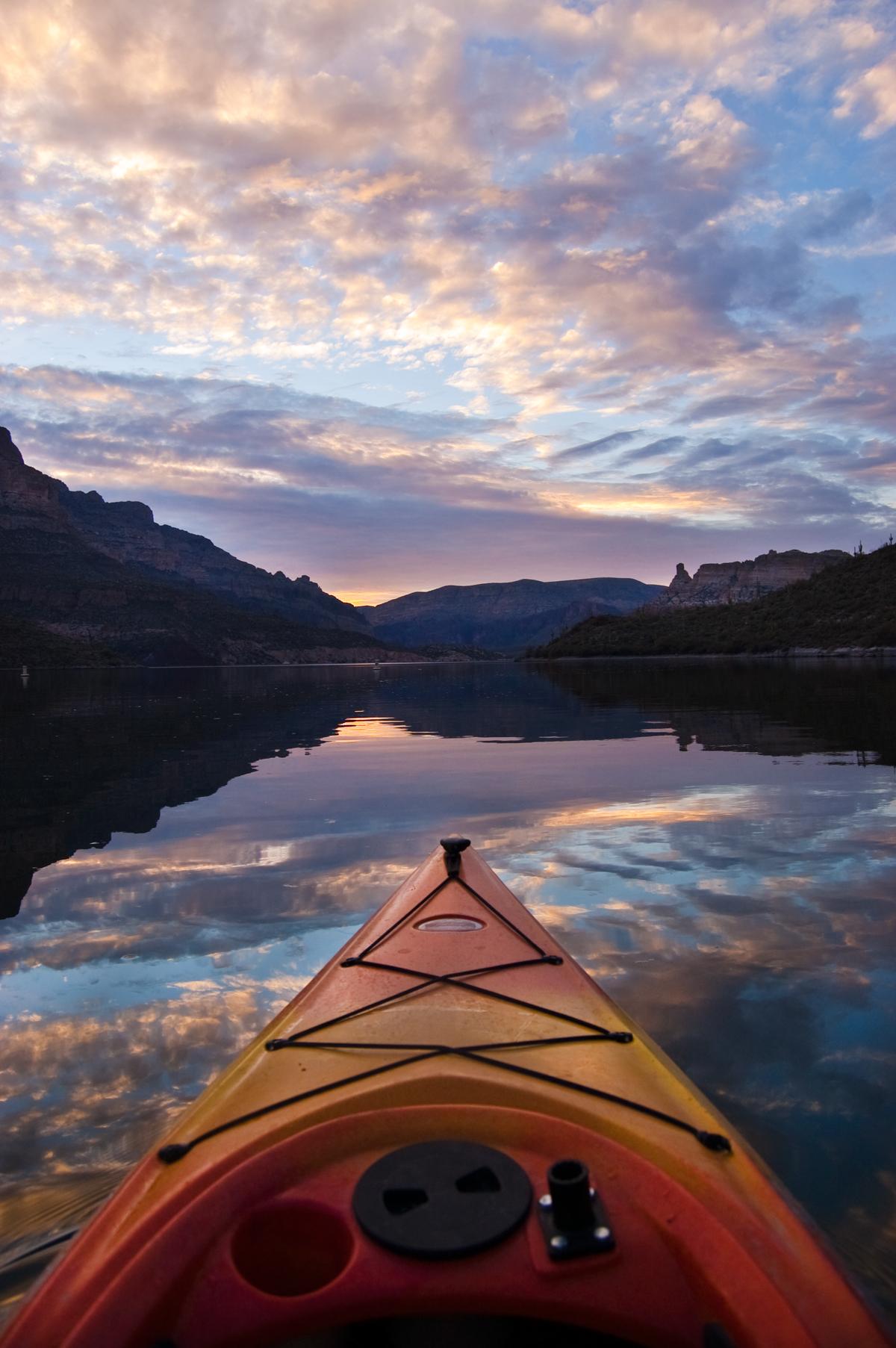 Kayak Sunset on Apache Lake, Arizona