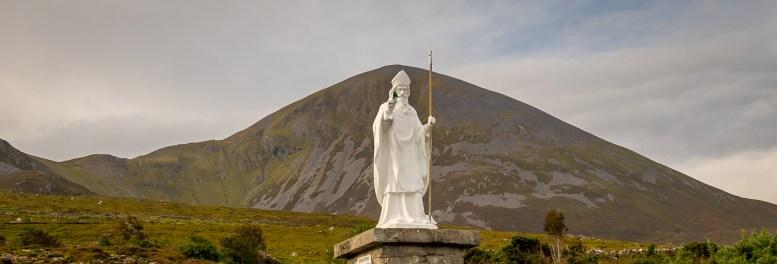 Crough Patrick w St Patrick Statue