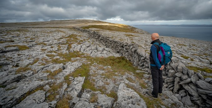 Hikinig-on-Gleninagh-Mountain-in-the-Burren