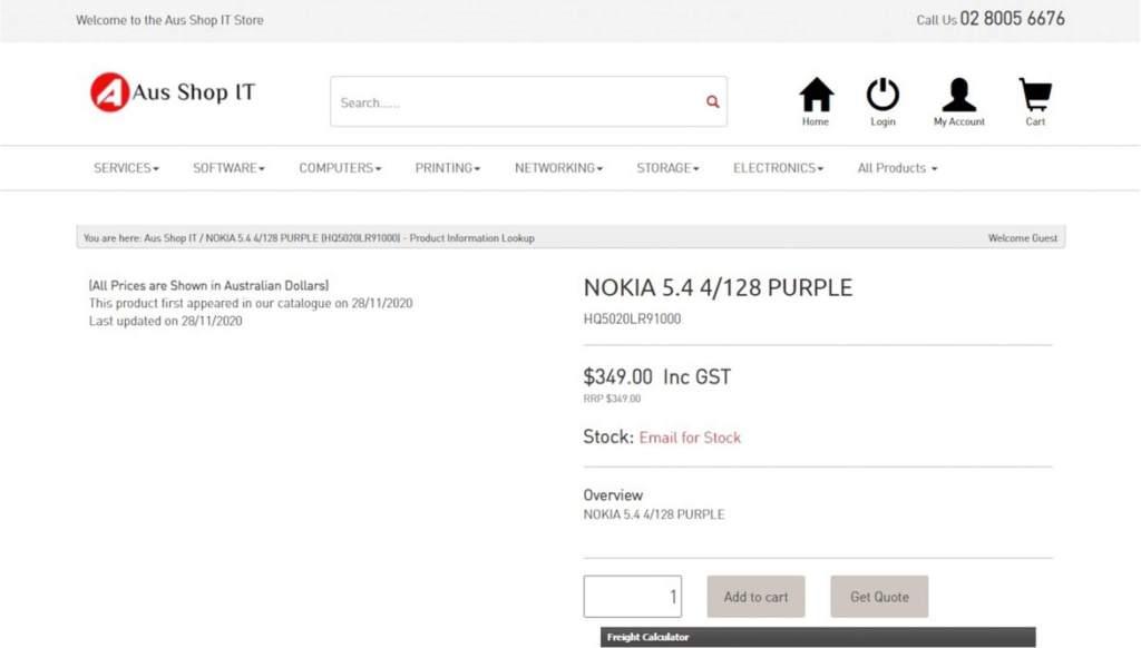 Nokia 5.4 sur le site Web dAus Shop IT