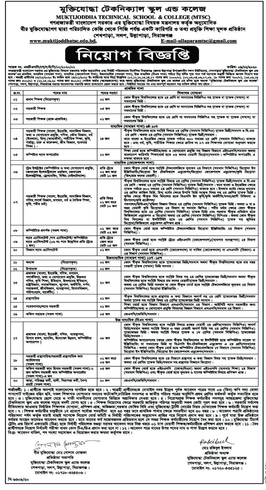 MuktiJuddha Technical School & College (MTSC) Job Circular