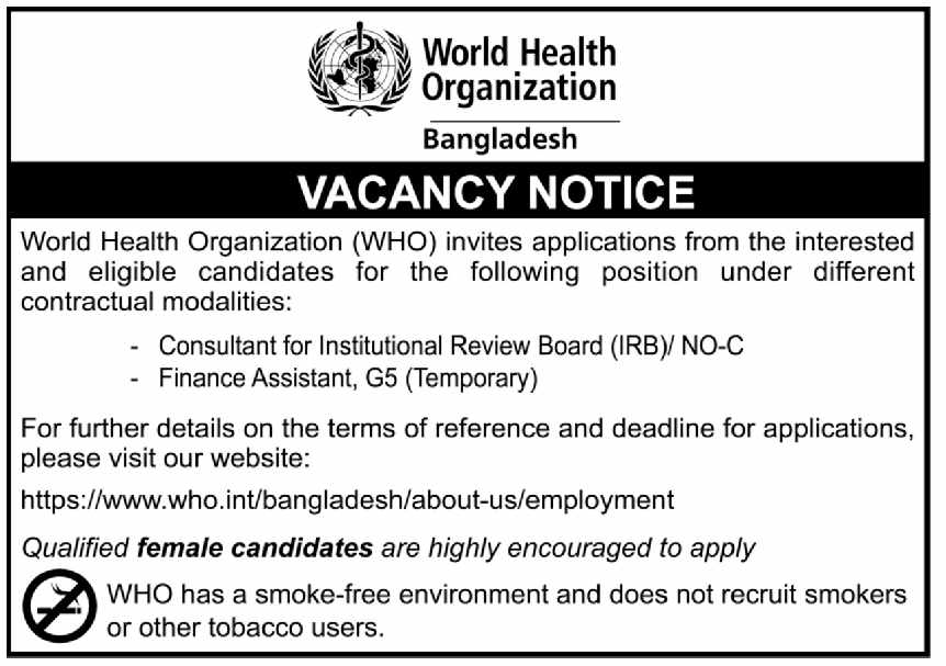 World Health Organization WHO Job Circular 2020