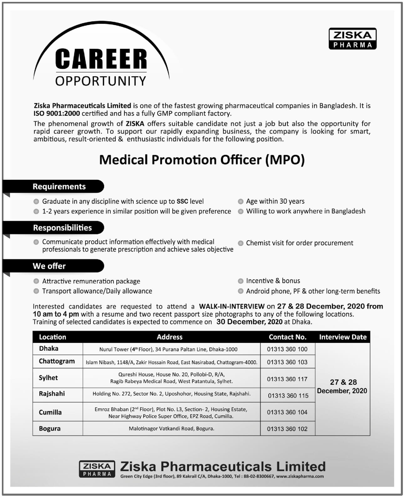 Ziska Pharmaceuticals Limited Job Circular