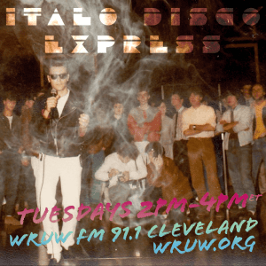 Digital poster for Italo Disco Express on Tuesdays from 2pm to 4pm