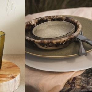 Woonfavorieten; bleekgroene bank, botanisch kussen + marmeren bijzettafel