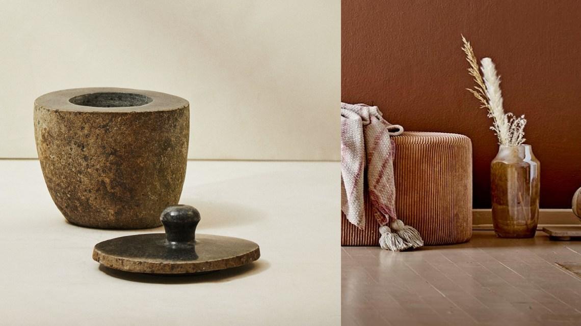 Woonfavorieten; jutemix kussenhoes, beige bloemenvloerkleed en stenen kistje