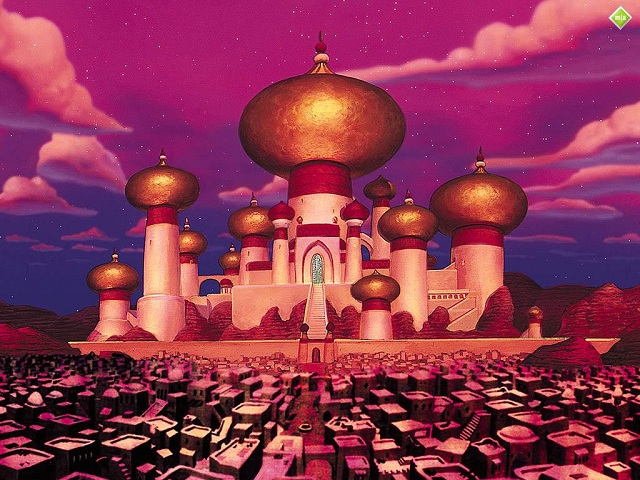 a screencap of Agrabah from the disney movie, aladdin