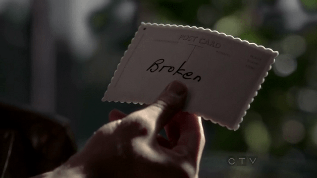 "a screencap of a postcard that reads ""broken"""