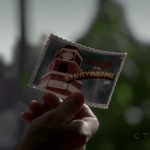 """a screencap of the front of a postcard that reads """"greetings from storybrooke maine"""""""