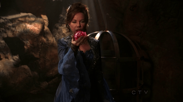 a screencap of cora (played by barbara hershey) holding the hear that captain hook (played by colin o'donoghue) stole from aurora (played by sarah bolger)