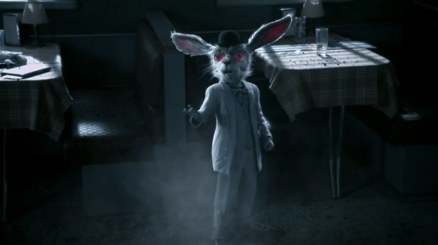 screencap of the white rabbit (voiced by john lithgow)