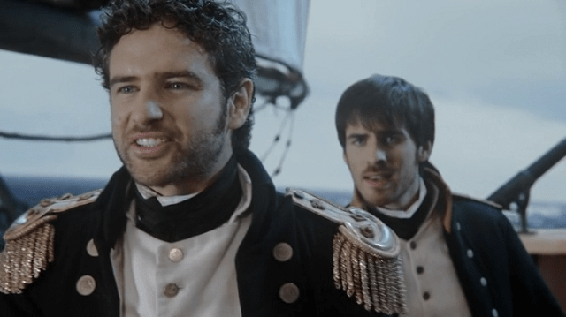 a screencap of captain liam jones (played by bernard curry) and his brother lieutenant killian jones (played by colin o'donoghue)