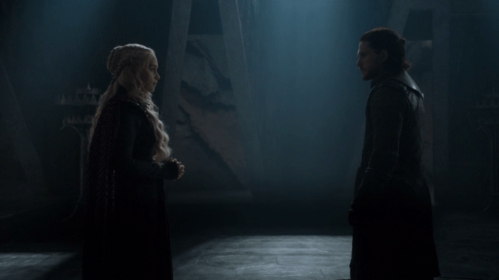 daenerys (played by emilia clarke) and jon snow (played by kit harington) meet for the first time