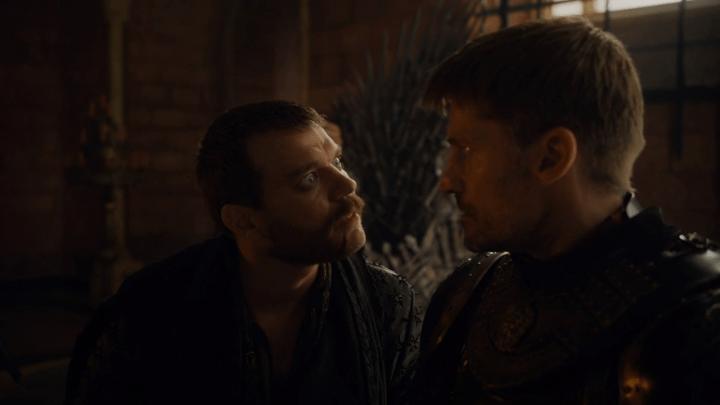 euron greyjoy (played by pilou asbæk) asks jaime lannister (played by nikolaj coster-waldau) if cersei like butt stuff