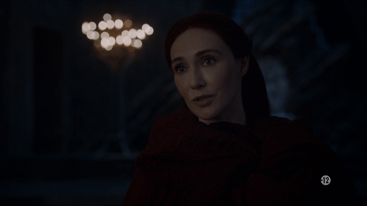 melisandre (playd by carice van houten) speaks to daenerys