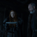 sansa stark (played by sophie turner) and davos seaworth (played by
