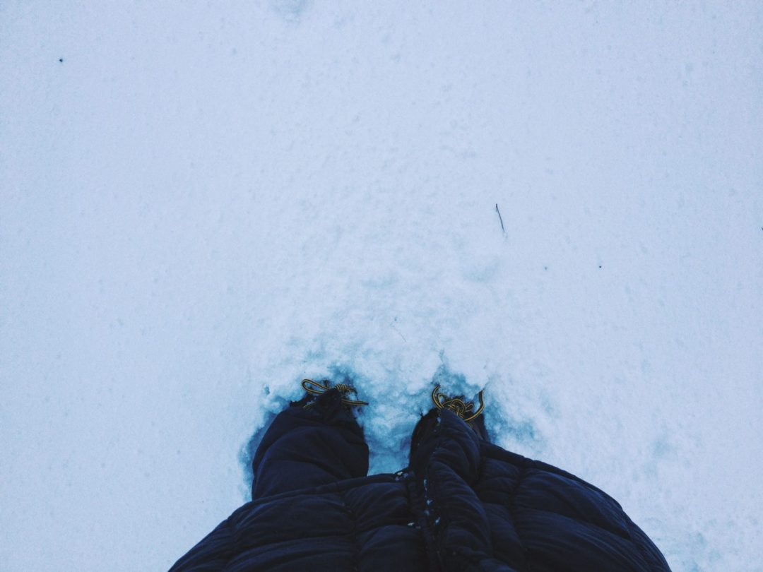 Feet in the snow