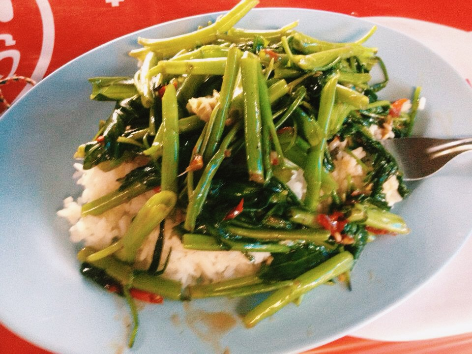 Stir-fried morning glory, Chiang Mai, Thailand