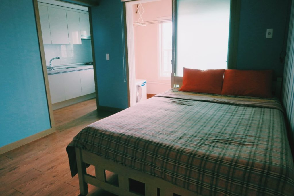 Yellow Submarine Guesthouse, Jeju Island - room and kitchen