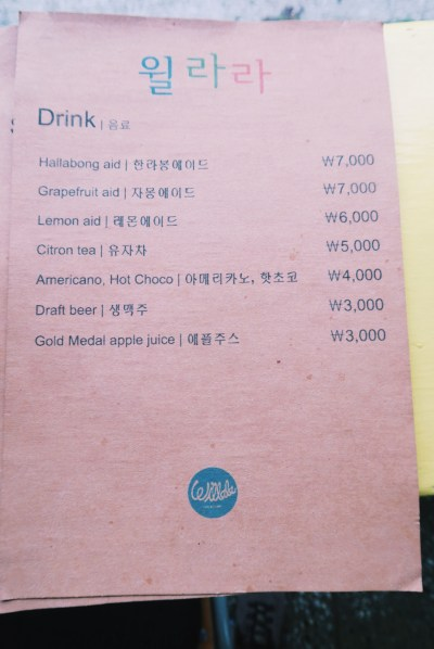 Drink Menu at Willala Fish and Chips, Jeju Island