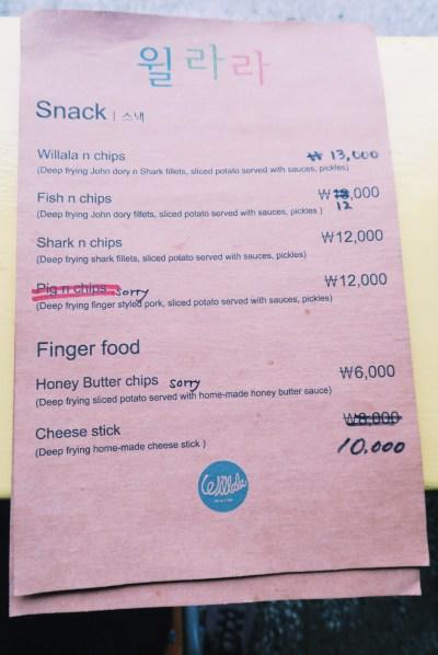 Willala Fish and Chips Menu (with shark!)