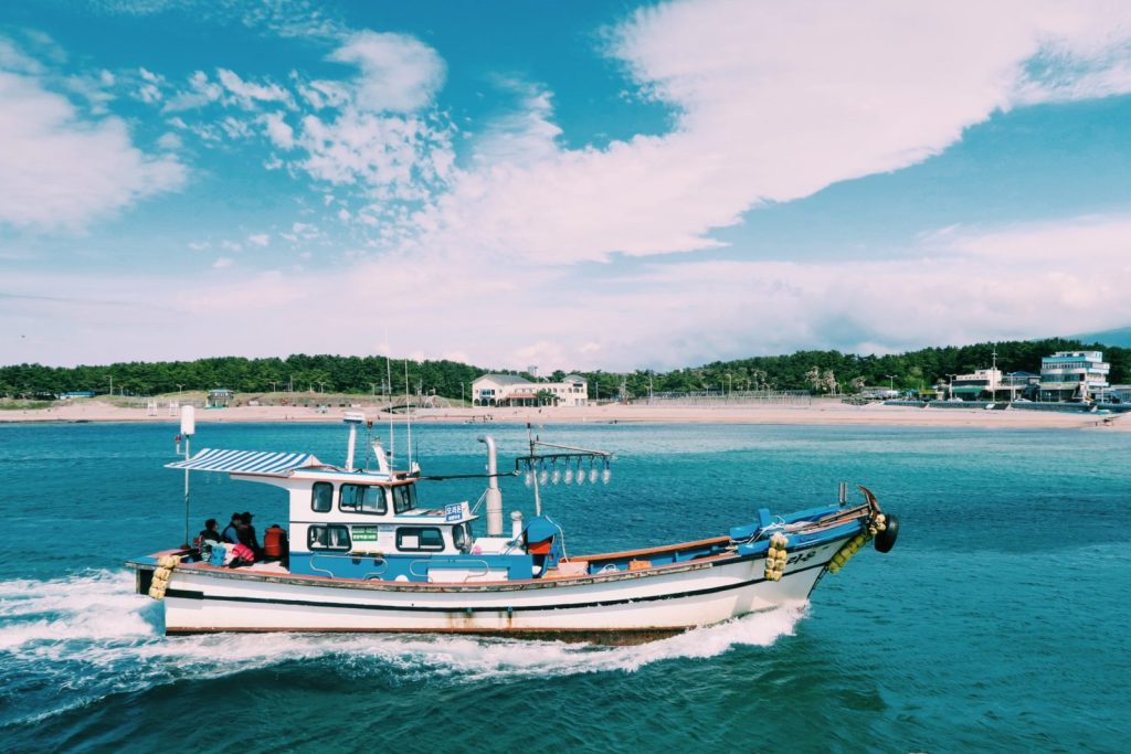 Squid Fishing Boat at Iho Beach, Jeju Island