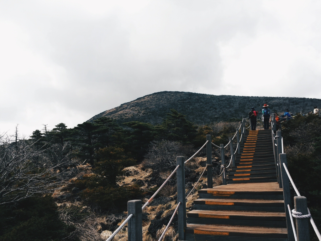 Steps to the peak of the mountain