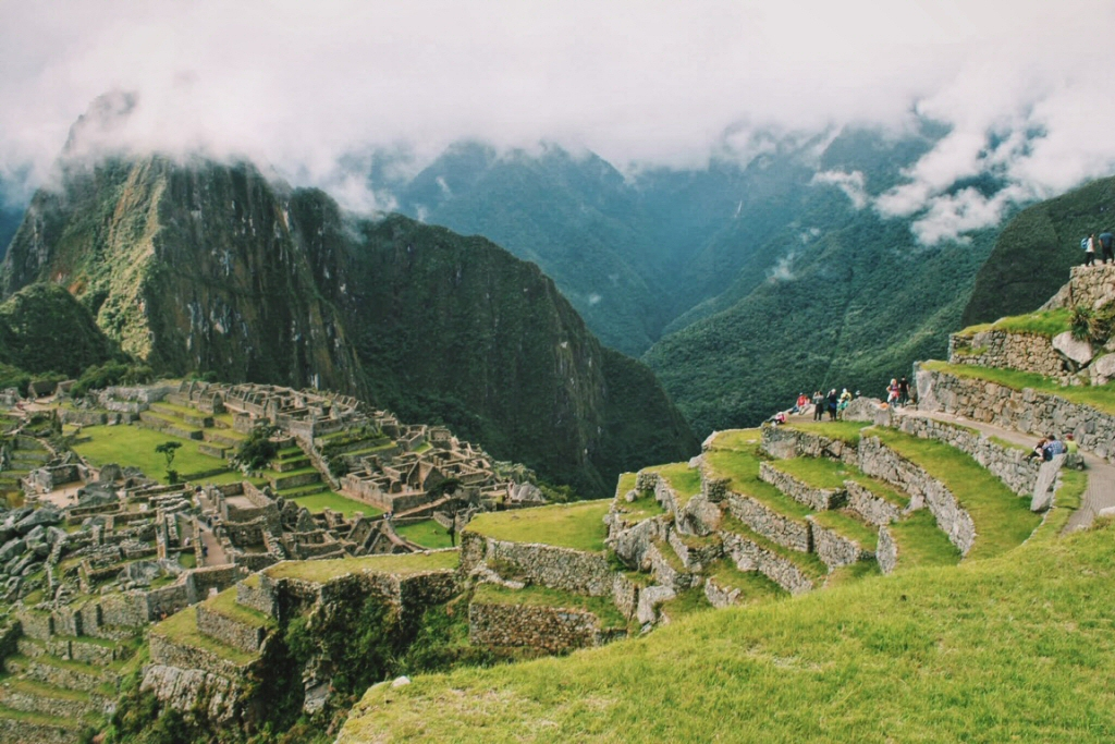 Small but triumphant crowd at Machu Picchu
