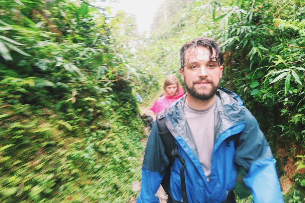 Ben and Ruth walking in the Sapa rain