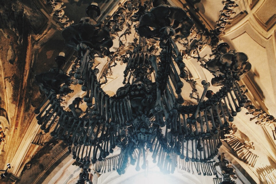 Bone Chandelier at Sedlec Ossuary, Czech Republic