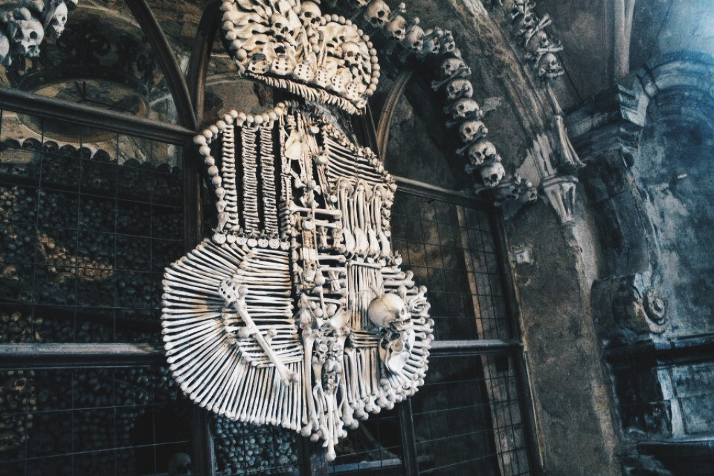 Sedlec Ossuary Bone Crest in Kutna Hora