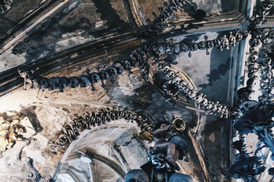 Skull Ceiling at the Sedlec Ossuary in the Czech Republic