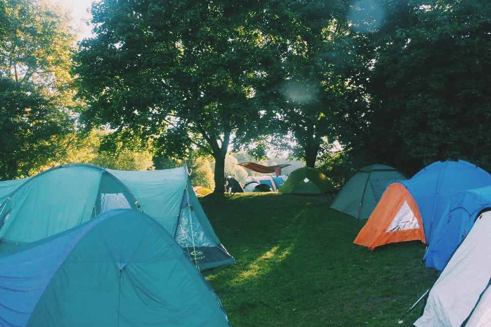 Camping grounds at The Tent Hostel in Munich, Germany