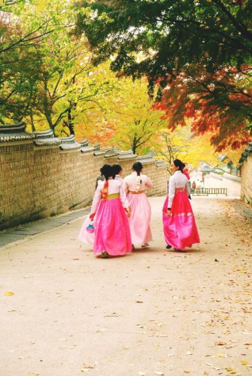 Hanbok at Changdeokgung Palace, South Korea autumn