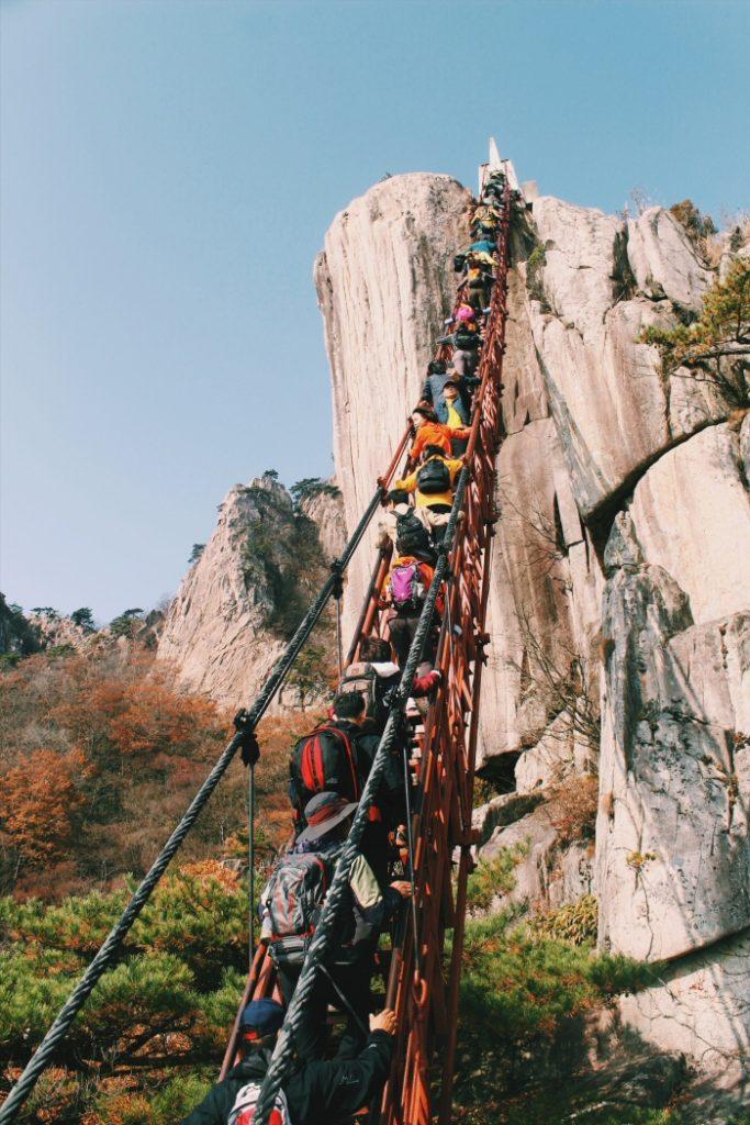 Daedunsan Mountain Stairway in South Korea fall