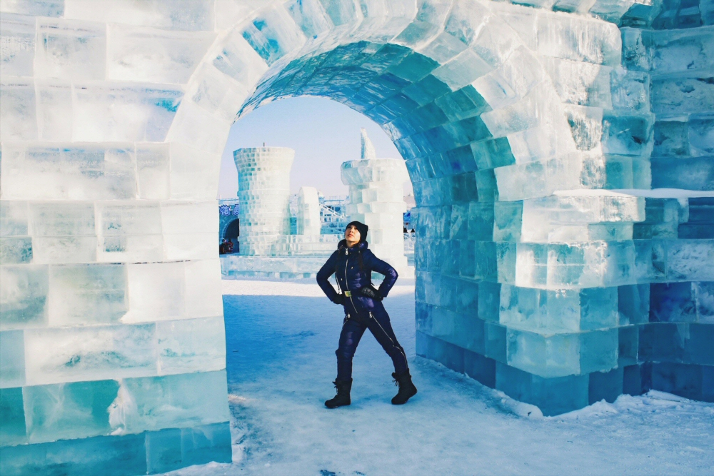Lauren at China Ice Festival, Harbin Ice and Snow World arch
