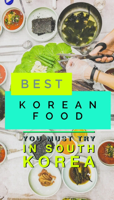 A South Korean food list by travel bloggers of all the Korean food dishes you must try if visiting South Korea, including live octopus (sannakji) and shaved ice dessert (patbingsu)!