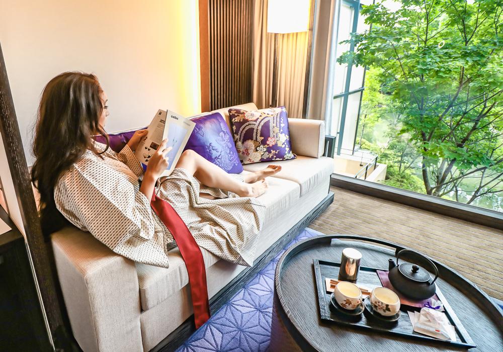 Lounging at Four Seasons Hotel Kyoto Japan