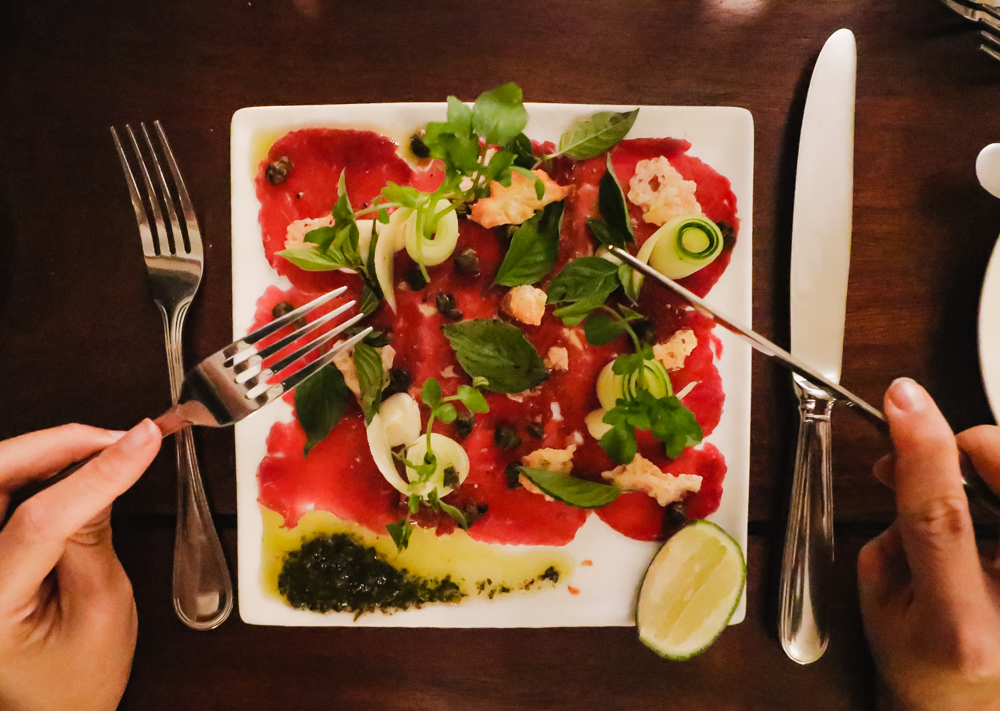 Buffalo Carpaccio at Governor's Grill restaurant at Sofitel Luang Prabang, Laos hotels